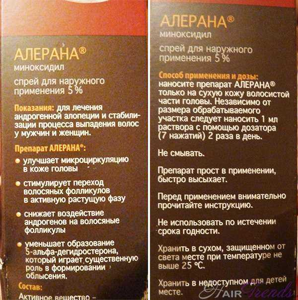 Спрей Алерана инструкция для применения
