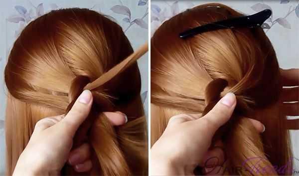 Двойная коса - схема плетения по типу обратной французской косы