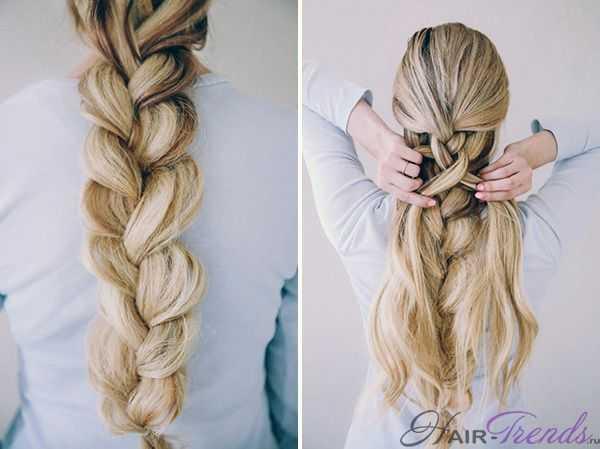 Двойная коса - схема плетение по типу обычной косы