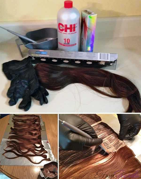 Как окрасить накладные волосы краской