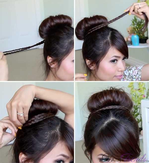 Очень объемный пучок из волос с косичкой вокруг