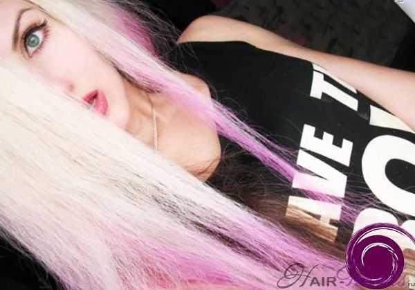 Фото применения гранатового оттенка шампуня Kapous Life Color на осветленных волосах: