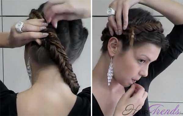 Корзинка вокруг головы из кос рыбий хвост