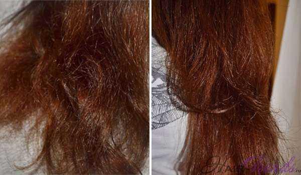 Сыворотка для сухих кончиков волос Эйвон - до и после нанесения